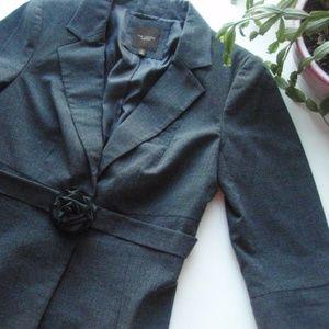 The Limited | Dark Gray Blazer w/ Flower Belt
